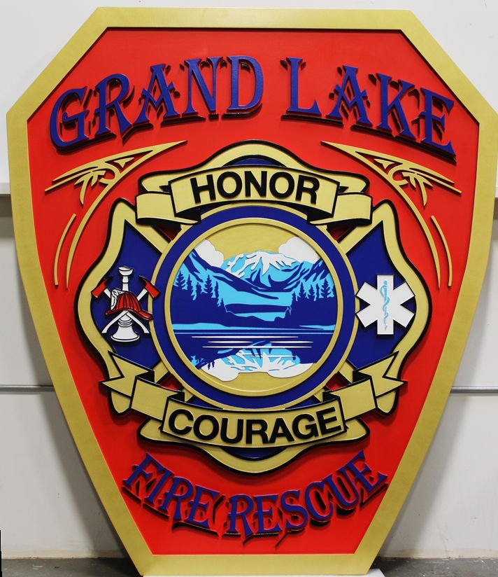 QP-2045 - Carved High-Density-Urethane Artist-Painted Plaque of the Shoulder Patch  of Grand Lake Fire Rescue Department, with Mountain Scene as Artwork