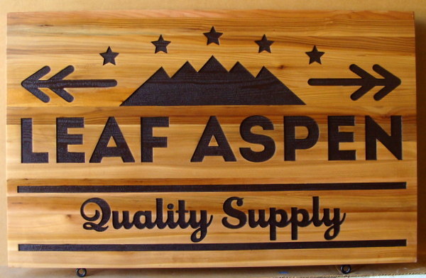 "S28080 - Engraved Cedar Wood sign made  for the ""Leaf Aspen "" Supply Store, with Mountain Logo as Artwork"