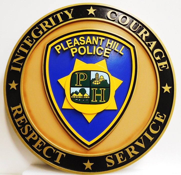 PP-2440- Carved Plaque of the Shoulder Patch  of the Police Department of  Pleasant Hill, 2.5-D Artist-Painted