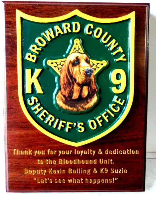 PP-2340 - Carved  Wall Plaque of the Shoulder Patch of the Broward County Sheriff's Office, Florida, Artist Painted on Mahogany Wood