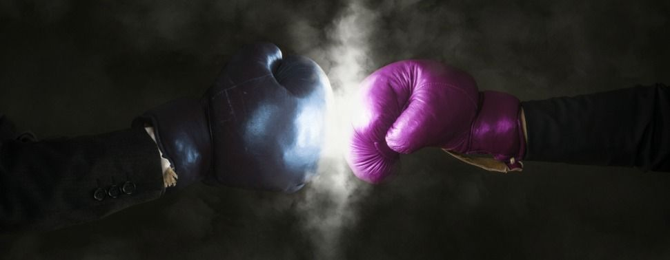 IMG: Pink and blue boxing gloves