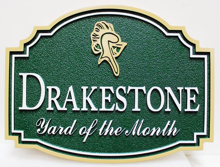 "KA20952 -  Carved and Sandblasted HDU Yard-of-Month Sign, for ""Drakestone"" HOA, with Helmet as Artwork"