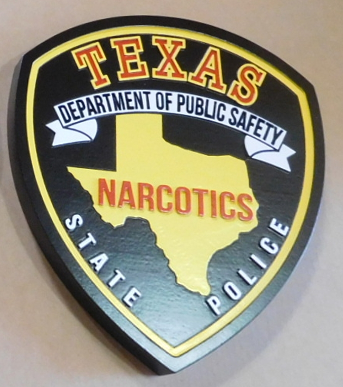 PP-2420 - Carved Plaque of the Shoulder Patch of the State Police, Narcotics Division, of  the State of Texas, 2.5-D Artist-Painted