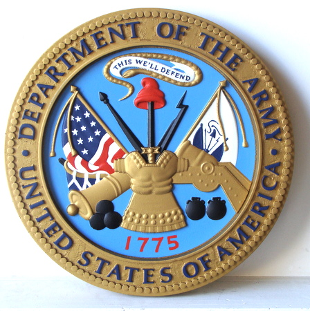 M2074 - Carved Wood Round Wall Plaque of US Army Great Seal