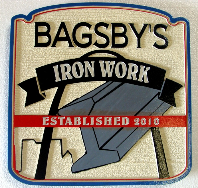 """SA28706 -  Carved and Sandblasted """"Bagsby's Ironworks"""" Company Sign, with Steel I-Beam as Artwork"""