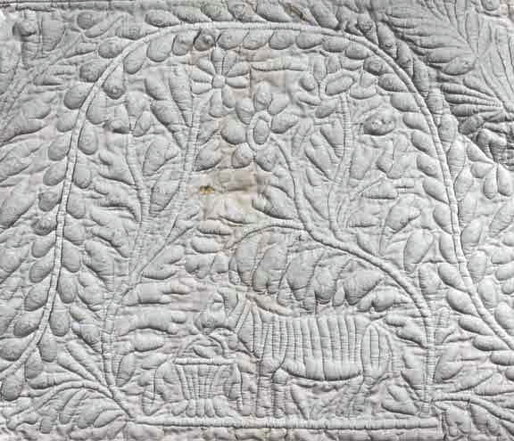 Bedcover, IQSCM 2005.018.0011, Detail, Dog and Basket