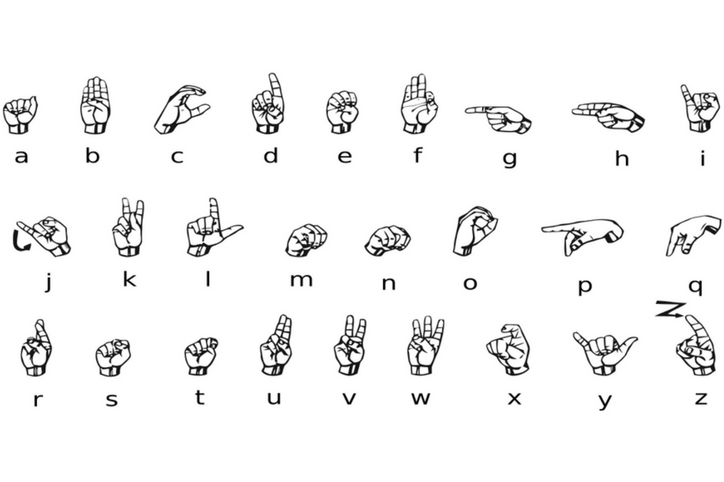 Graphic collage of hands signing ASL alphabet