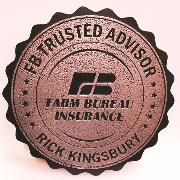 M7214 - Engraved and Recessed Copper-plated Plaque with  the Logo of Farm Bureau Insurance