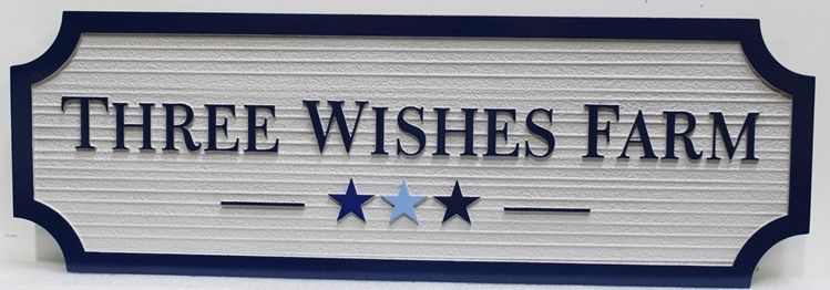O24065 - Carved and Sandblasted Wood Grain HDU entrance Sign for the Three Wishes Farm