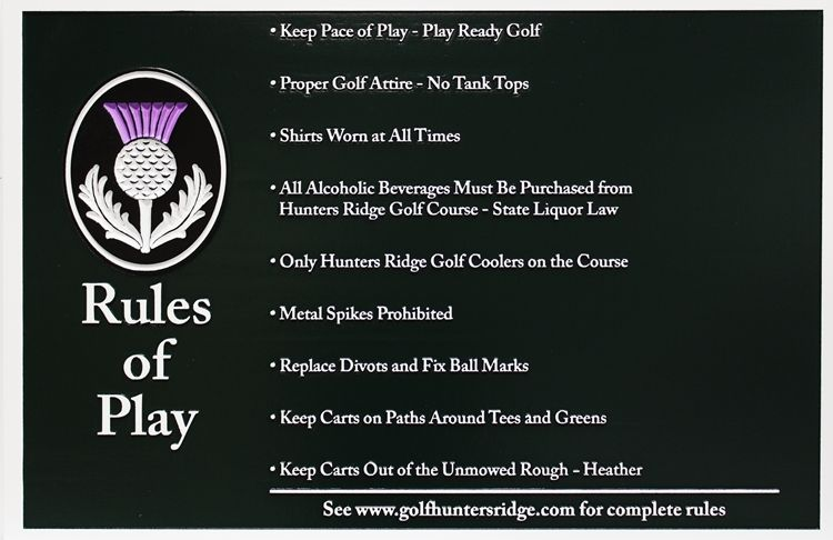 "E14502 - Carved HDU Golf Course  ""Rules of Play""  Sign,"