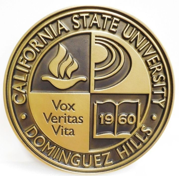 RP-1270 -Carved Plaque of the Seal of California State University, Dominguez Hills, 2.5-D Engraved, Bronze-Plated