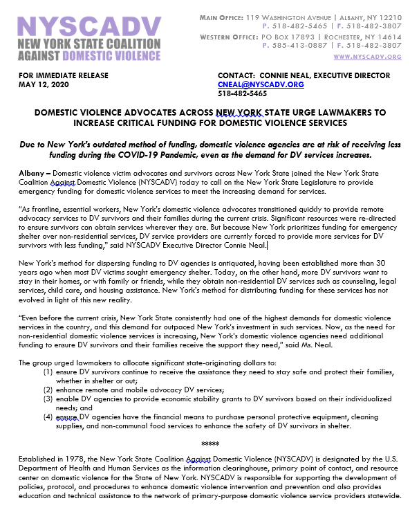 DOMESTIC VIOLENCE ADVOCATES ACROSS NEW YORK STATE URGE LAWMAKERS TO INCREASE CRITICAL FUNDING FOR DOMESTIC VIOLENCE SERVICES