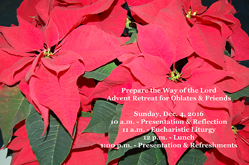 Advent Retreat for Oblates and Friends - Dec. 4 - 10 a.m. to 3 p.m.