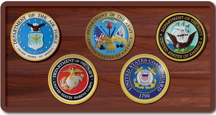 V31015 - Five US Military Armed Forces Seals Mounted on Mahogany Plaque