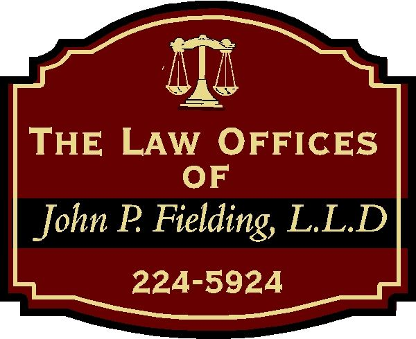 A10162 - Dimensional Engraved HDU Attorney Sign with Justice Scales