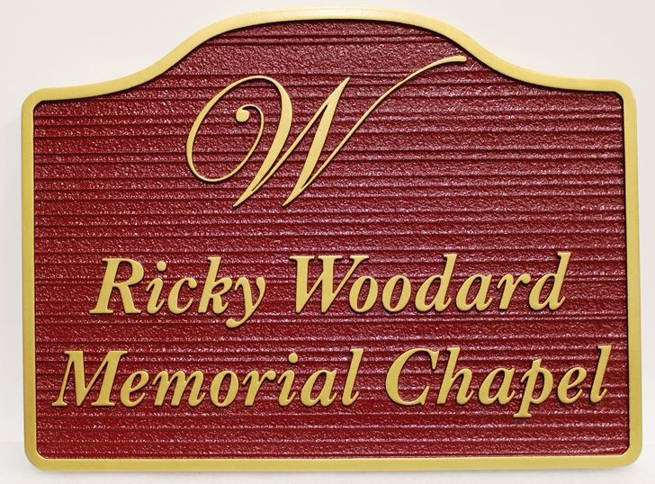 D13133 - Carved and Sandblasted Wood Grain Entrance Sign for the Rick Woodward Memorial Chapel, 2.5-D