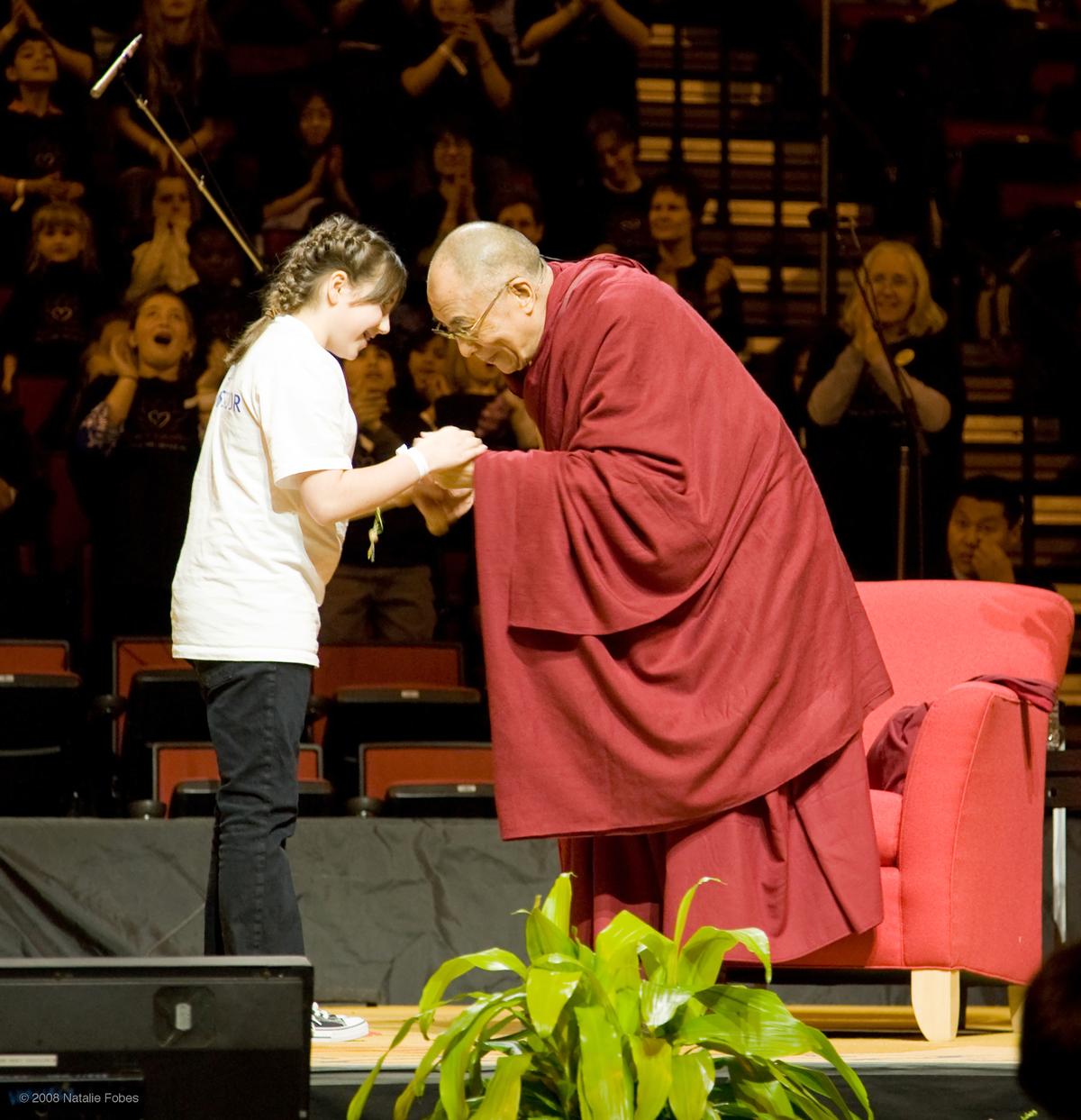 Jessica with His Holiness the Dalai Lama.