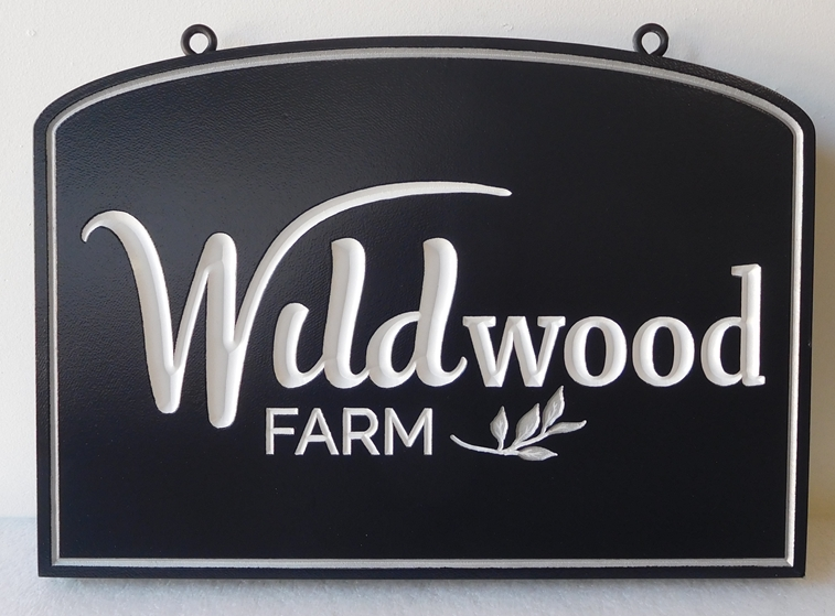 "O24041 -  Carved  Engraved HDU  Sign for the Entrance to ""Wildwood""  Farm"