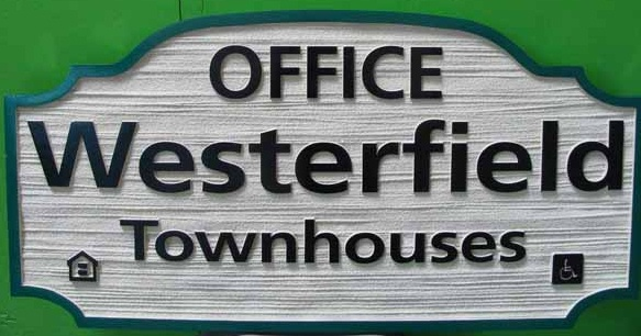 KA20530 - Carved Wood Grain  HDU Townhome Office Sign, Housing Authority Symbol and Handicapped (Special needs) Access