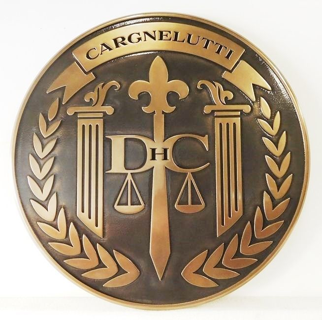 HP-1070 - Carved Plaque of the Seal of a County Court, Bronze Plated