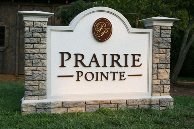 K20055 - EPS Monument Sign for Residential Homes, Faux Stone Sign Base and Pillars