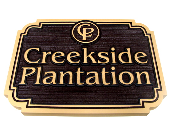 "K20134 - Carved HDU  ""Creekside Plantation""  Residential Community  Entrance  Sign"