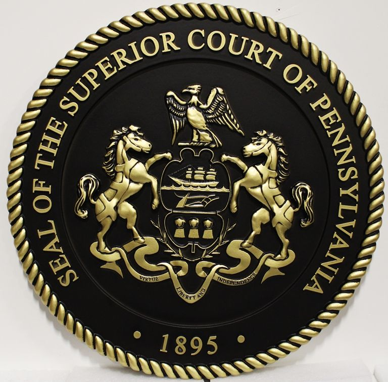 M7105 - 3-D PolishedBrass Wall plaque for the Seal of the Superior Court of Pennsylvania