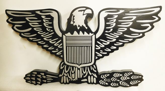 MP-1700 - Carved Plaque of the Insignia of the US Army Eagle,  Aluminum Plated