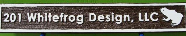 "SA28723 - Carved and Sandblasted (Wood Grain) Address Sign for ""White Frog Design Studio,LLC"""