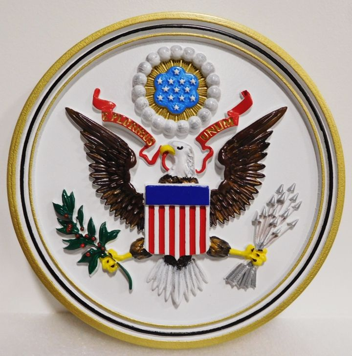 AP-1040 - Carved Plaque of the Center Section  of the Great Seal of the United States, Artist Painted