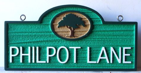 H17041 -  Carved HDU  Street Name Sign, Philpot Lane, 2.5-D Raised Relief with Tree as Artwork