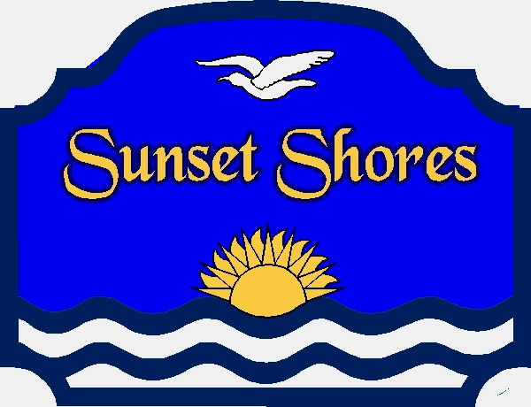 "L21220- Sign for  ""Sunset Shores"" Beach House with Sun, Bird and Waves"