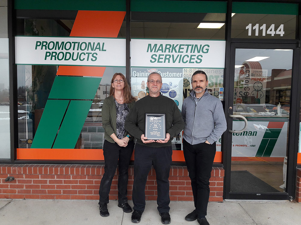 Minuteman Press, St. Ann awarded by corporate for $75,000 in gross sales in a single month.