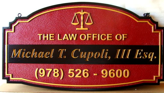 A10330 - Carved and Sandblasted HDU Law Office Sign