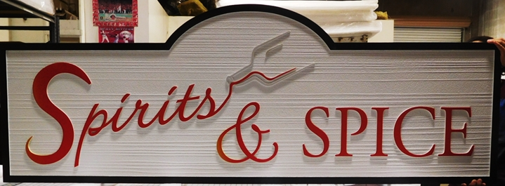"Q25628 - Carved and Sandblasted Sign for ""Spirits & Spice"" Store"