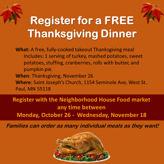 Pre-Order Deadline for Fully Cooked Thanksgiving Meal from the Neighborhood House Approaches