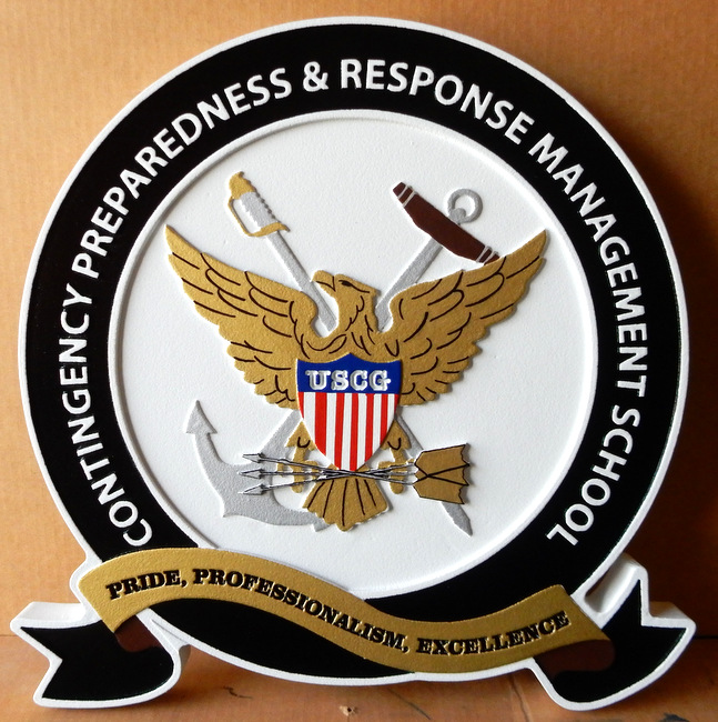 NP-2200- Carved Plaque of Seal of US Coast Guard Contingency Preparedness and Response Management School,  Artist Painted
