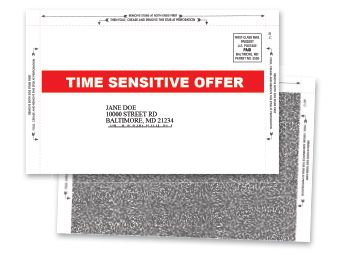 Pressure seal mailers produced in Owings Mills, Maryland.
