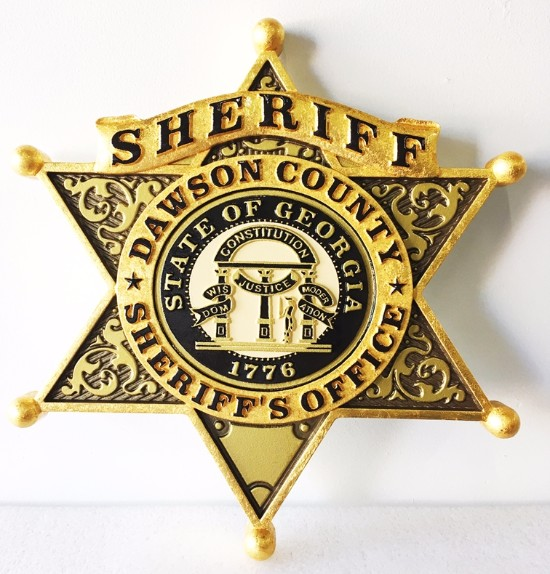 PP-1040 - Carved Wall Plaque of the Star Badge of the Sheriff, Dawson County, Georgia, Gold Leaf Gilded