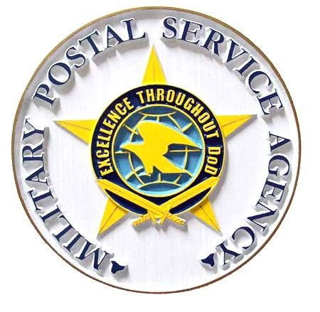 V31175 - DoD Postal Service Seal Carved Wood Wall Plaque
