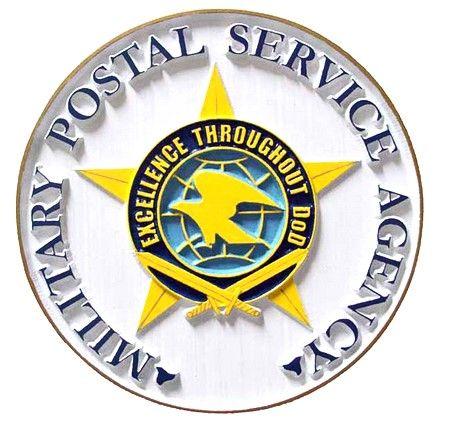 V31175 - DoD Postal Service Seal Carved Wood Wall Plaque