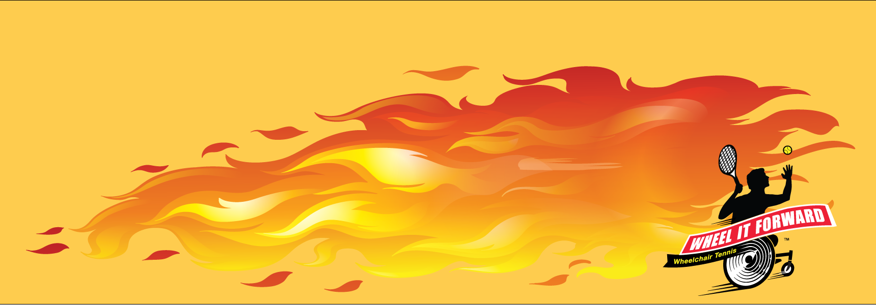 Graphic of Wheel it Forward logo on bright backgroud with flames
