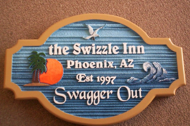 "Q25720 - Carved, Wood Look Sign for Arizona Inn with Carved Island, Palm Tree, Sun and Ocean, Invitation to ""Swagger Out"""