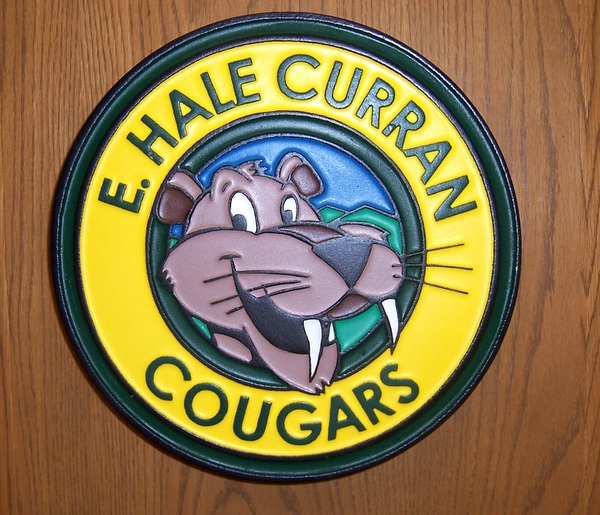 TP-1380- Carved Wall Plaque of the Seal / Logo of E.H. Curran Public School, with  Artist Painted Cougar