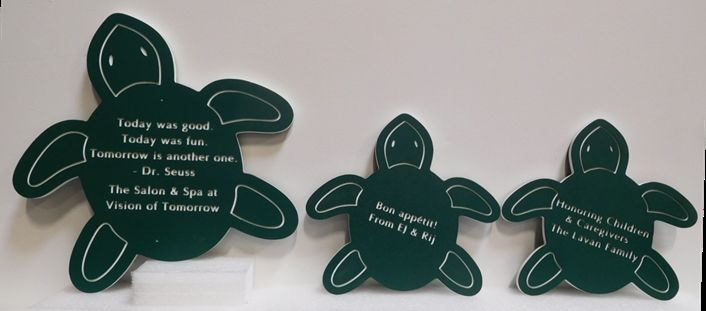 """SA28854 - Three Small Engraved Signs in the Shape of Turtles made for the """"Hair Salon and Spa"""" Business"""