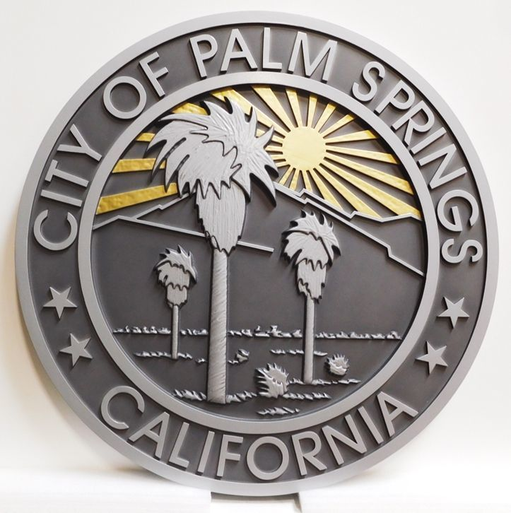X33244 - Carved 2.5-D HDU  Plaque of the Seal of the City of Palm Springs, California