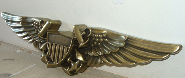 M7169- Detailed Side View of Brass Naval Aviator Badge Wall Plaque