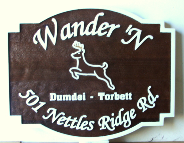 "M22638 -  Carved Wood Cabin Sign ""Wander'N"", with Leaping Deer"