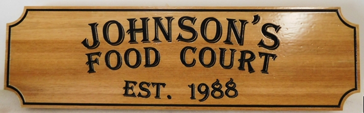 Q25860 - Carved Engraved Western Red Cedar Wood Sign for Johnson's Food Court, 2.5-D
