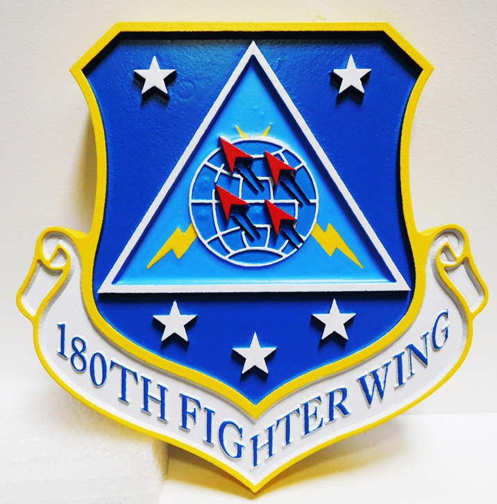 LP-2070 - Carved Plaque of the Shield Crest of the 180th Fighter Wing, USAF,  Artist-Painted